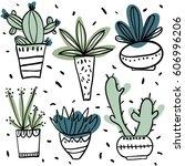 set of hand drawn flower pots.... | Shutterstock .eps vector #606996206