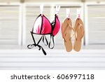 summer time and swim suit on... | Shutterstock . vector #606997118