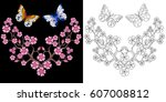 embroidery butterfly and sakura ... | Shutterstock .eps vector #607008812