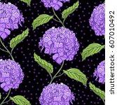 seamless vintage floral pattern ... | Shutterstock .eps vector #607010492