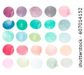 set of watercolor shapes.... | Shutterstock .eps vector #607014152