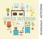 business workplace icons set... | Shutterstock .eps vector #607015046