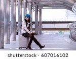 asian travel woman wearing... | Shutterstock . vector #607016102