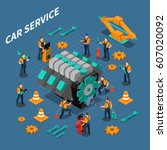 car service isometric... | Shutterstock .eps vector #607020092