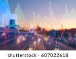 stock market digital graph... | Shutterstock . vector #607022618