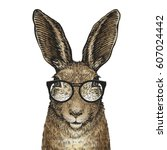 cute easter bunny with glasses. ... | Shutterstock .eps vector #607024442