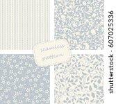 set of 4 vintage seamless ... | Shutterstock .eps vector #607025336
