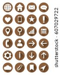 set of brown vector web icons... | Shutterstock .eps vector #607029722