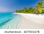 idyllic tropical beach... | Shutterstock . vector #607031678