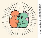 cute doodle monster love   with ...   Shutterstock .eps vector #607033436