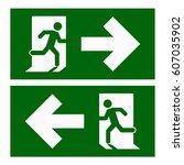emergency exit left   emergency ... | Shutterstock .eps vector #607035902