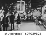 black and white bokeh city... | Shutterstock . vector #607039826