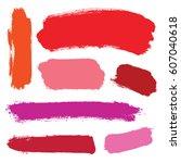 vector set of grunge brush... | Shutterstock .eps vector #607040618