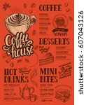 coffee food menu for restaurant ... | Shutterstock .eps vector #607043126