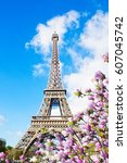 eiffel tower in sunny spring... | Shutterstock . vector #607045742