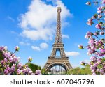 Eiffel Tower In Sunny Spring...