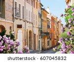 old town street of aix en...   Shutterstock . vector #607045832