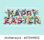 happy easter greeting card with ... | Shutterstock .eps vector #607049852