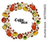 coffee break. coffee cups.... | Shutterstock .eps vector #607050602