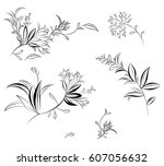 set with elegant hand painted... | Shutterstock . vector #607056632
