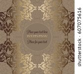 luxury ornament  lace in... | Shutterstock .eps vector #607075616