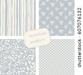 set of 4 vintage seamless ... | Shutterstock .eps vector #607076132