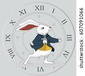 alice in wonderland rabbit... | Shutterstock .eps vector #607091066