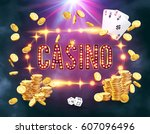 the word casino  surrounded by... | Shutterstock .eps vector #607096496