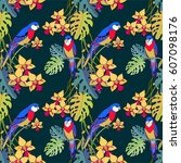 tropical floral and bird... | Shutterstock .eps vector #607098176