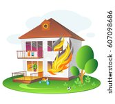 illustration with burning house ... | Shutterstock .eps vector #607098686