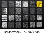 hand drawn textures and brushes.... | Shutterstock .eps vector #607099736