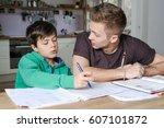 male caucasian student is... | Shutterstock . vector #607101872