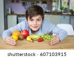 young caucasian male child... | Shutterstock . vector #607103915