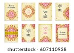 save the date. set of postcards ...   Shutterstock .eps vector #607110938
