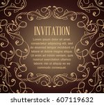 vintage background with brown... | Shutterstock .eps vector #607119632