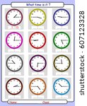 telling the time  what is the... | Shutterstock .eps vector #607123328