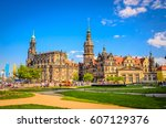 dresden cathedral of the holy... | Shutterstock . vector #607129376