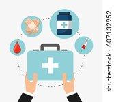 healthcare medical equipment... | Shutterstock .eps vector #607132952