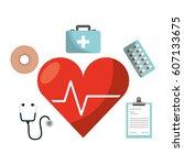 healthcare medical equipment... | Shutterstock .eps vector #607133675