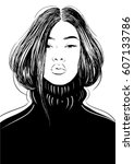 fashion asian woman in black... | Shutterstock .eps vector #607133786