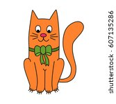 cute red cat doodle vector... | Shutterstock .eps vector #607135286