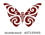 butterfly painted in style of... | Shutterstock .eps vector #607135445