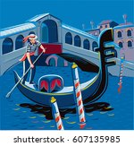 night in a gondola on the grand ... | Shutterstock .eps vector #607135985