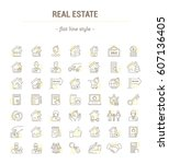 vector graphic set.icons in... | Shutterstock .eps vector #607136405