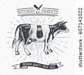 butcher shop vintage emblem... | Shutterstock .eps vector #607141022