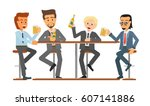 male friends drinking beer in a ... | Shutterstock .eps vector #607141886