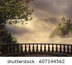 view from a balcony of a castle ... | Shutterstock . vector #607144562