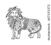 hand drawn black and white lion.... | Shutterstock .eps vector #607151372