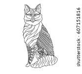 hand drawn black and white fox. ... | Shutterstock .eps vector #607151816