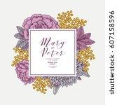 floral wedding invitation... | Shutterstock .eps vector #607158596